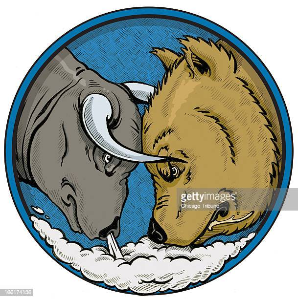 Phil Geib color illustration of a Wall Street bear market going head to head with a bull market
