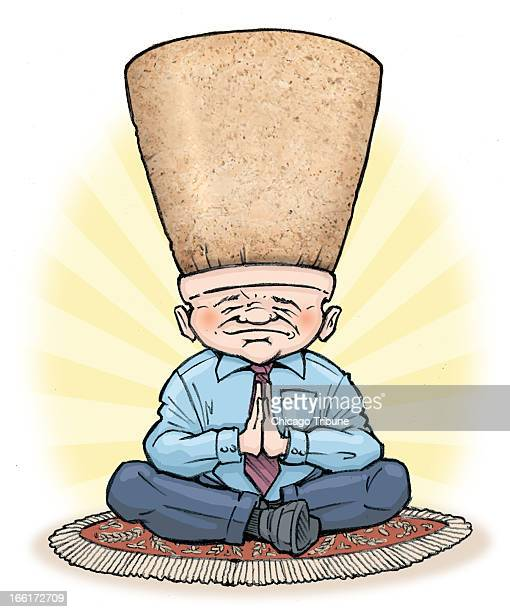 Phil Geib color illustration of businessman meditating with an enormous cork on his head as he tries to keep a cap on workplace pressures