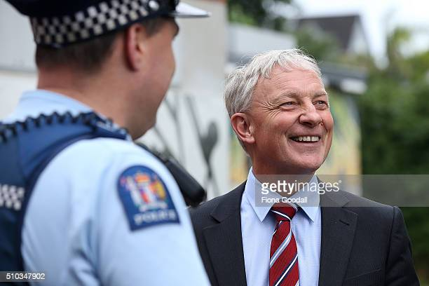 Phil Goff arrives at the first Auckland Mayoral debate on February 15, 2016 in Auckland, New Zealand. Each candidate was given two minutes to speak...