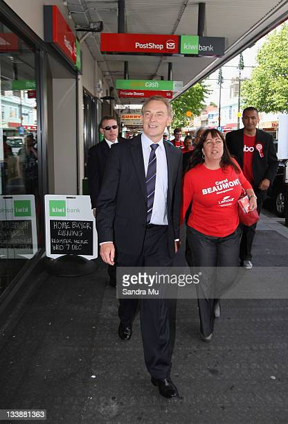 Phil Goff, Leader of the Labour Party and Carol Beaumont of Labour campaign along the streets of Onehunga on November 22, 2011 in Auckland, New...
