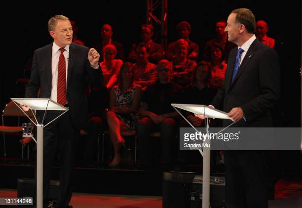 Phil Goff, Leader of the Labour Party and John Key, Leader of the National Party debate at the TVNZ studios on October 31, 2011 in Auckland, New...