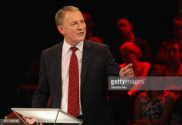 Phil Goff, Leader of the Labour Party debates with John Key, Leader of the National Party at the TVNZ studios on October 31, 2011 in Auckland, New...