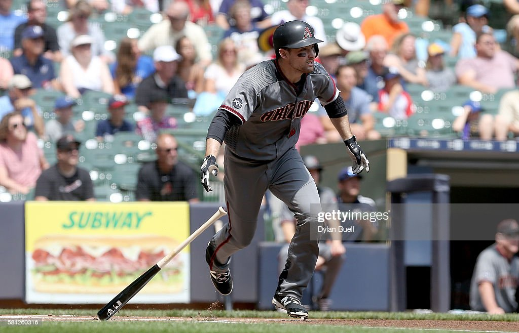 Phil Gosselin #15 of the Arizona Diamondbacks hits a ground rule double in the first inning against the Milwaukee Brewers at Miller Park on July 28, 2016 in Milwaukee, Wisconsin.