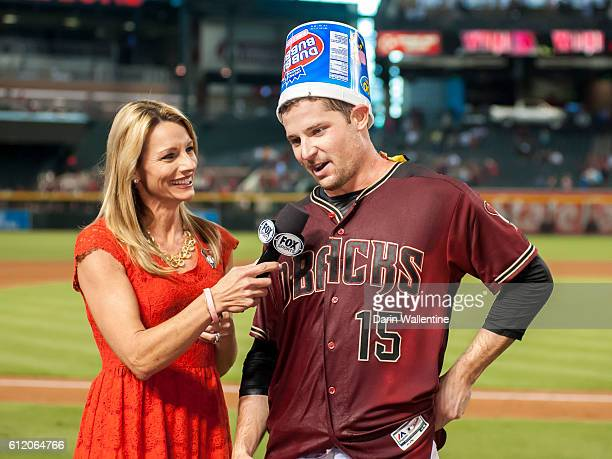 Phil Gosselin of the Arizona Diamondbacks is interviewed after a walkoff single against the San Diego Padres after the MLB game at Chase Field on...
