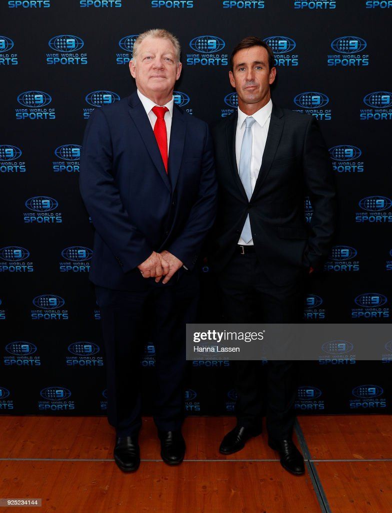 Phil Gould and Andrew Johns attend the Nine Network 2018 NRL Launch at the Australian Maritime Museum on February 28, 2018 in Sydney, Australia.