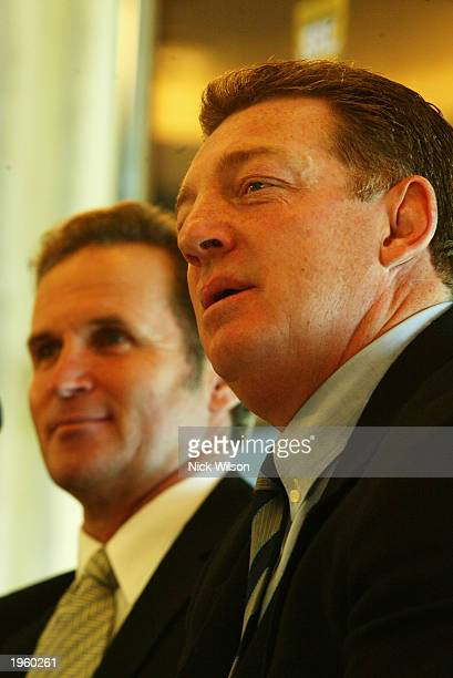 Phil Gould coach of the New South Wales State of Origin Team talks to the media during the NRL Representive Launch on April 30, 2003 at Telstra...