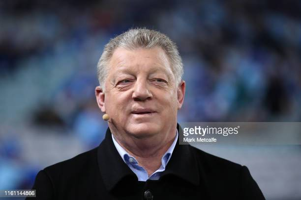 Phil Gould smiles during a tv broadcast before game three of the 2019 State of Origin series between the New South Wales Blues and the Queensland...