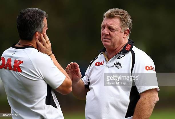 Phil Gould talks with coach Ivan Cleary during a Penrith Panthers NRL training session at Sportingbet Stadium on April 15, 2014 in Sydney, Australia.