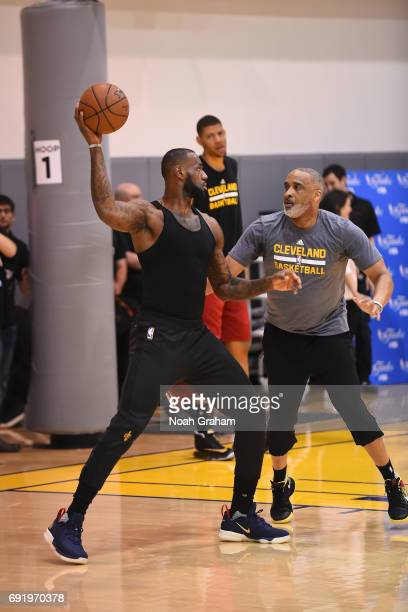 Phil Handy and LeBron James of the Cleveland Cavaliers work out together during practice and media availability as part of the 2017 NBA Finals on...