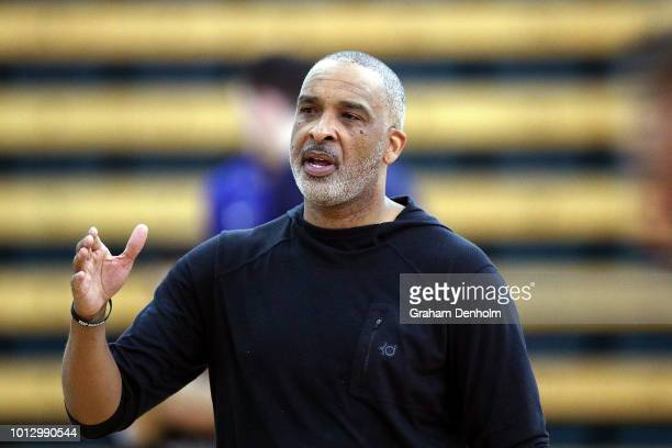 Phil Handy gives instructions during a training session with Melbourne United at Melbourne Sports Aquatic Centre on August 8 2018 in Melbourne...