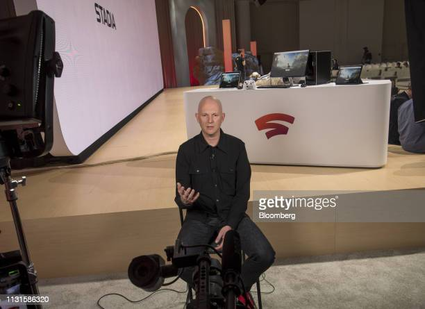 Phil Harrison vice president of Google LLC speaks during a Bloomberg Technology television interview at the Game Developers Conference in San...