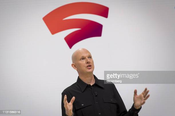 Phil Harrison vice president of Google LLC speaks during an event at the Game Developers Conference in San Francisco California US on Tuesday March...