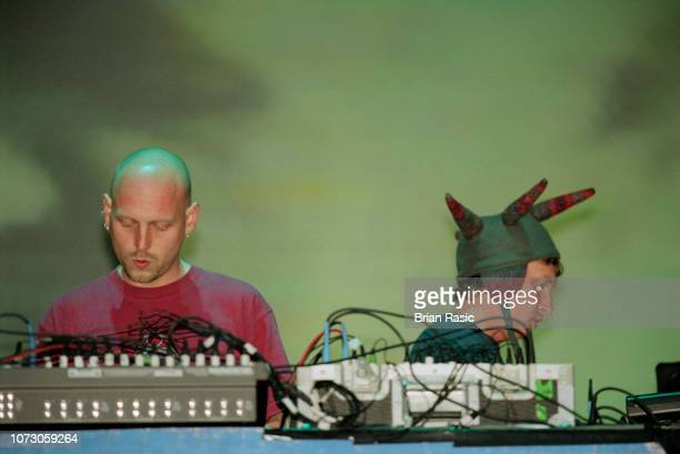 Phil Hartnoll and Paul Hartnoll of English electronic duo Orbital perform live on the Pyramid stage at the Glastonbury Festival in Pilton Somerset on...