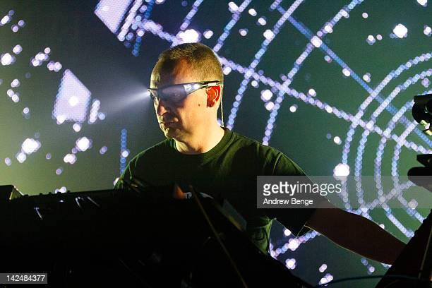 Phil Hartnoll of Orbital performs on stage at Manchester Academy on April 5, 2012 in Manchester, United Kingdom.