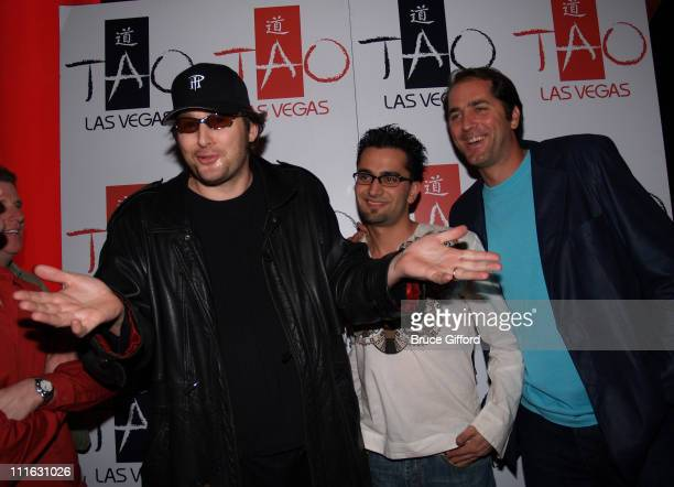 Phil Hellmuth Antonio Esfandiari and Phil Gordon during Celebrity Birthday Celebration of David Gallagher and Kelly Hu February 11 2006 at Tao...