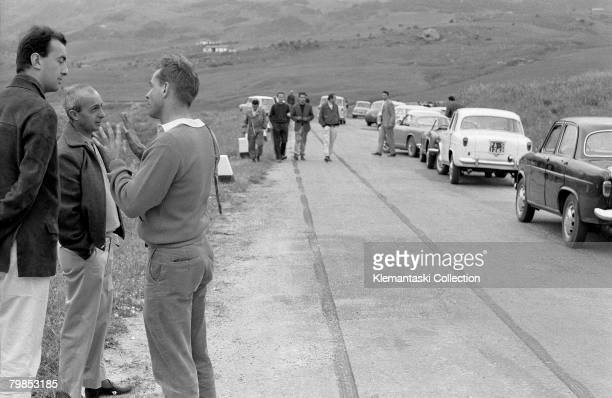 Phil Hill explaining his terrifying accident where the throttle of his Ferrari 268SP had stuck wide open during practice for the Targa Florio,...