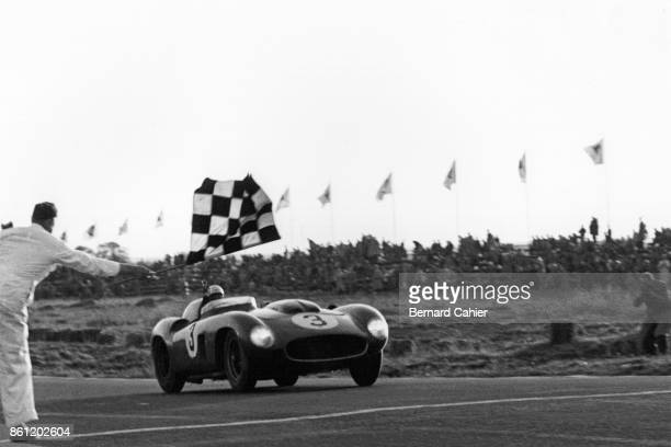 Phil Hill Ferrari 290MM Grand Prix of Sweden Kristianstad 08 December 1956 Checkered flag and victory for Phil Hill and his codriver Maurice...