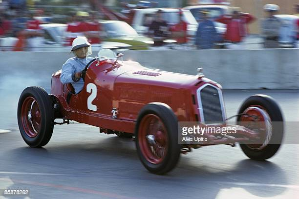Phil Hill in a 1934 Alfa Romeo P3 during the vintage car race at the first United States Grand Prix West held on March 28 1976 in Long Beach...