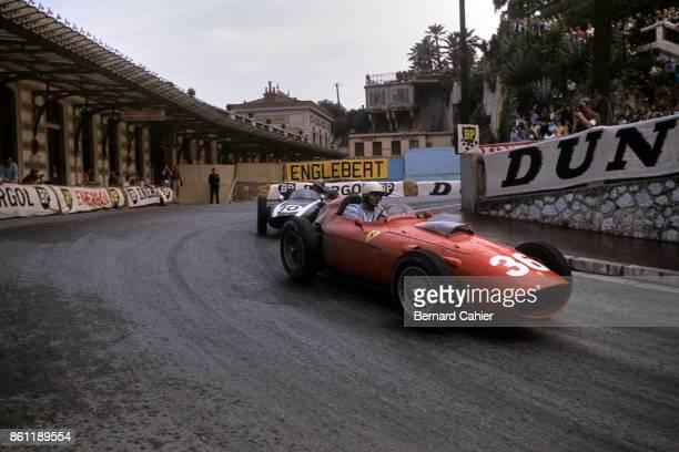 Phil Hill, Jack Brabham, Ferrari 246, Cooper-Climax T53, Grand Prix of Monaco, Circuit de Monaco, 29 May 1960.