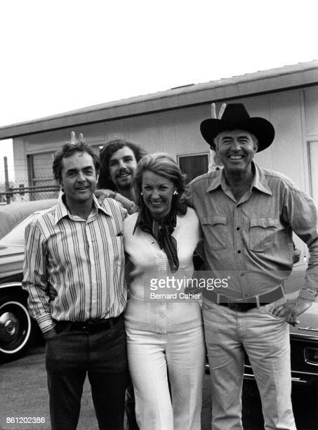 Phil Hill, Paul-Henri Cahier, Joan Cahier, Carroll Shelby, Los Angeles, Venice, California, 11 August 1972. Phil Hill, Carroll Shelby, Joan Cahier...