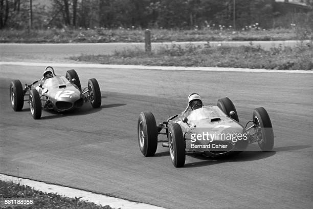 Phil Hill Ricardo Rodriguez BRM P57 OR BRM P48/57 Ferrari 156 Sharknose Grand Prix of Belgium Circuit de SpaFrancorchamps 17 June 1962 Phil Hill and...