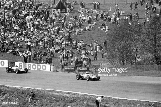 Phil Hill Ricardo Rodriguez BRM P57 OR BRM P48/57 Ferrari 156 Sharknose Grand Prix of Belgium Circuit de SpaFrancorchamps 17 June 1962 Phil Hill and...