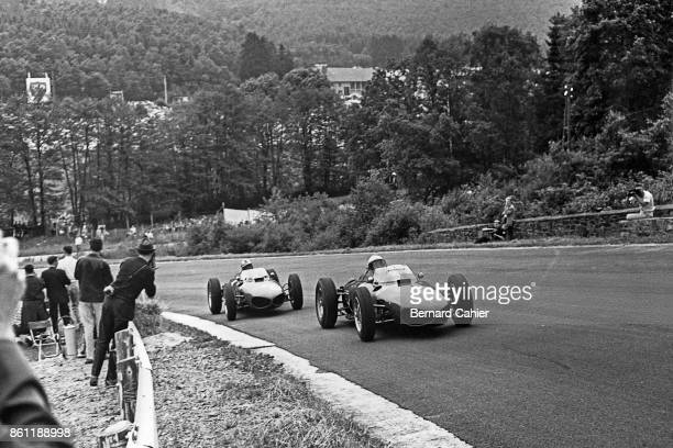 Phil Hill Wolfgang von Trips BRMClimax P48/57 Ferrari 156 Sharknose Grand Prix of Belgium Circuit de SpaFrancorchamps 18 June 1961 Phil Hill and...