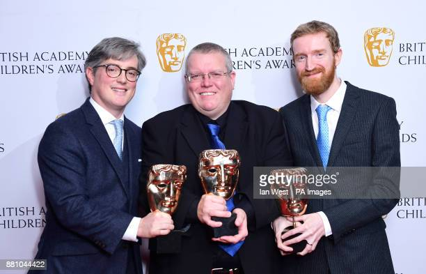 Phil Hoskins Keith Davidson and Peter Hickman with the Interactive Award Hey Duggee We Love Animals presented by Holly Tandy at the British Academy...