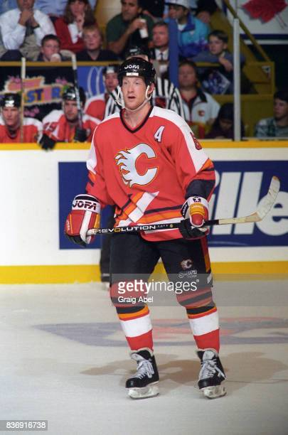 Phil Housley of the Calgary Flames skates against the Toronto Maple Leafs during NHL game action on October 20 1995 at Maple Leaf Gardens in Toronto...