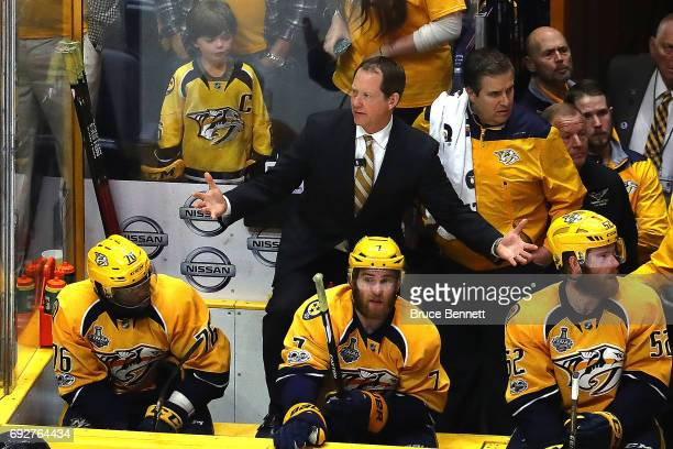 Phil Housley of the Nashville Predators reacts against the Pittsburgh Penguins during the third period in Game Four of the 2017 NHL Stanley Cup Final...