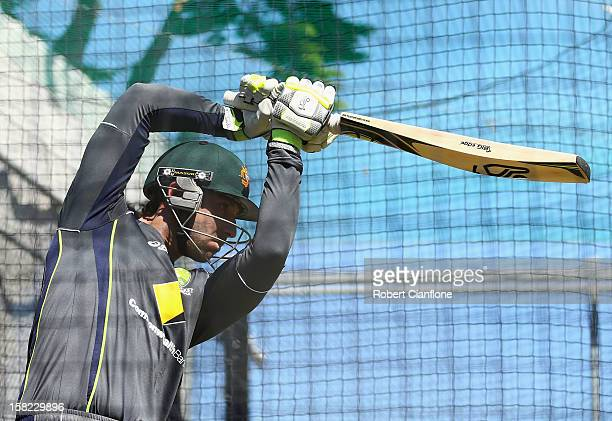 Phil Hughes of Australia bats during an Australian nets session at Blundstone Arena on December 12 2012 in Hobart Australia