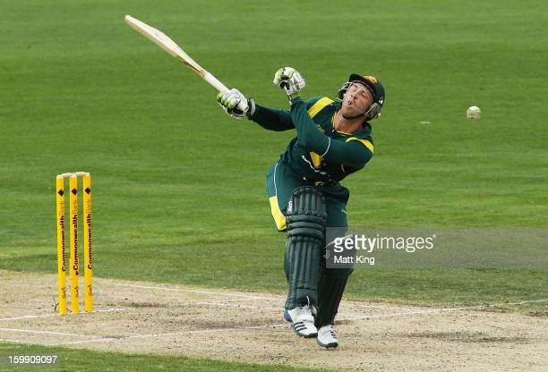 Phil Hughes of Australia is hit by a ball from Angelo Mathews of Sri Lanka during game five of the Commonwealth Bank One Day International series...