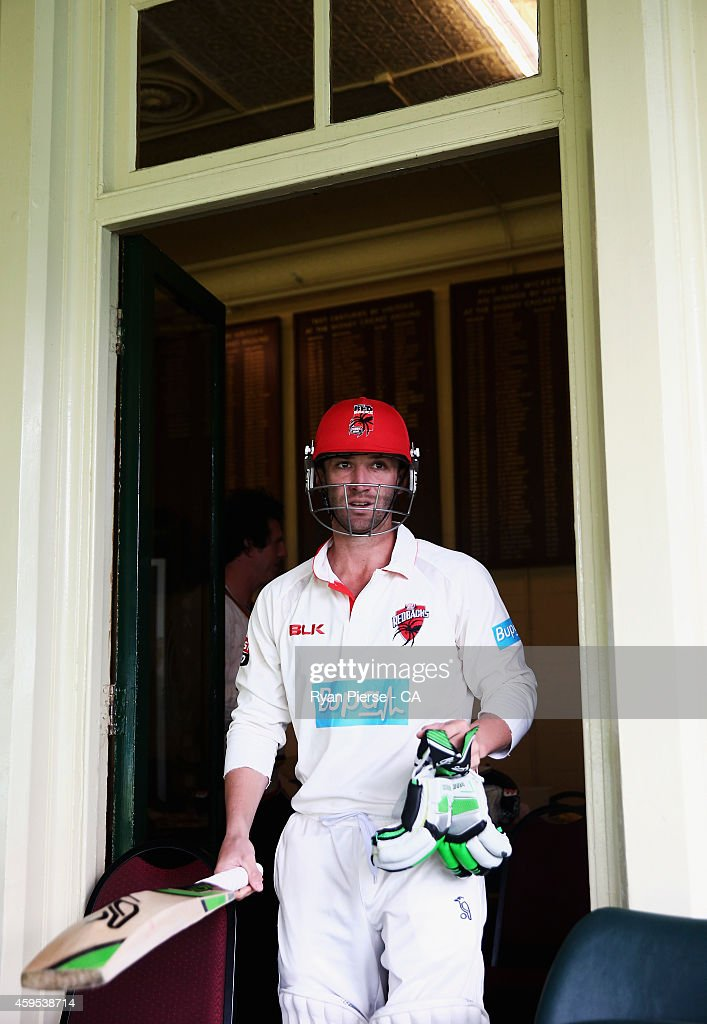 Phil Hughes of South Australia walks out to bat during day one of the Sheffield Shield match between New South Wales and South Australia at Sydney Cricket Ground on November 25, 2014 in Sydney, Australia.