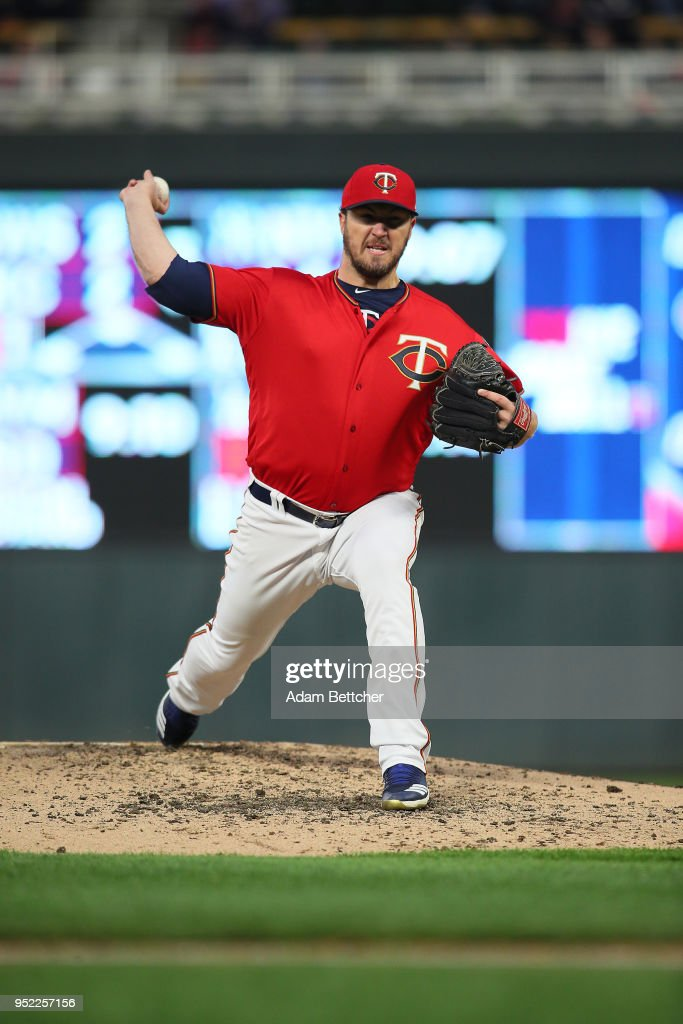 Phil Hughes #45 of the Minnesota Twins throws the ball in the third inning against the Cincinnati Reds at Target Field on April 27, 2018 in Minneapolis, Minnesota.