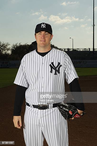 Phil Hughes of the New York Yankees poses for a photo during Spring Training Media Photo Day at George M. Steinbrenner Field on February 25, 2010 in...