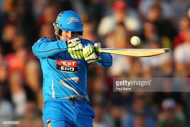 Phil Hughes of the Strikers bats during the Big Bash League match between the Perth Scorchers and the Adelaide Strikers at WACA on January 16, 2014...