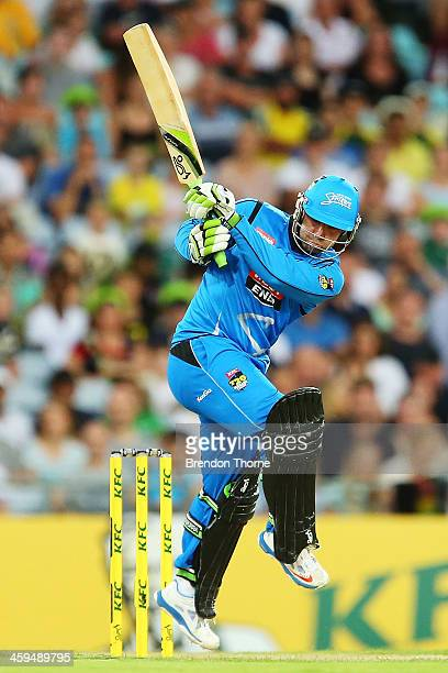 SYDNEY AUSTRALIA DECEMBER Phil Hughes of the Strikers plays a stroke on the leg side during the Big Bash League match between Sydney Thunder and the...