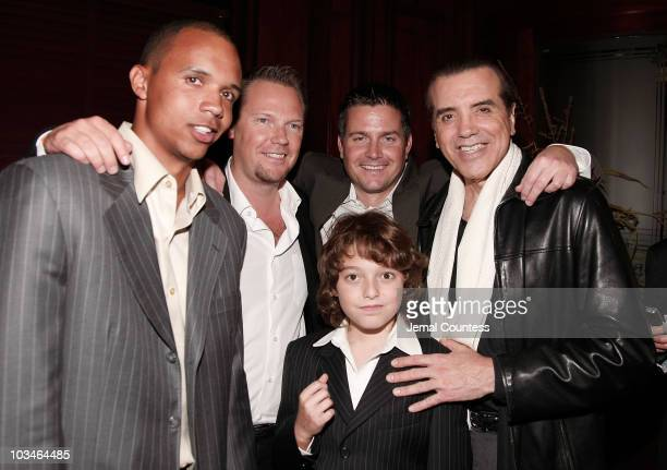 Phil Ivey Matt Othick Trent Othick Actor Chazz Palmentari and son Dante Lorenzo Palmentari at the afterparty for the opening night Broadway...