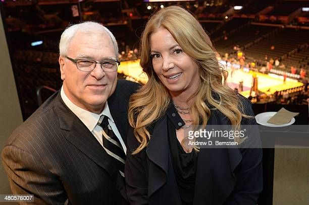 Phil Jackson and Jeanie Buss pose for a photo before a game between the Los Angeles Lakers and the New York Knicks at STAPLES Center on March 25 2014...