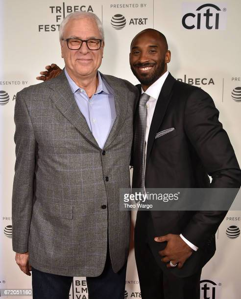 Phil Jackson and Kobe Bryant attend Tribeca Talks Kobe Bryant with Glen Keane 2017 Tribeca Film Festival at BMCC Tribeca PAC on April 23 2017 in New...