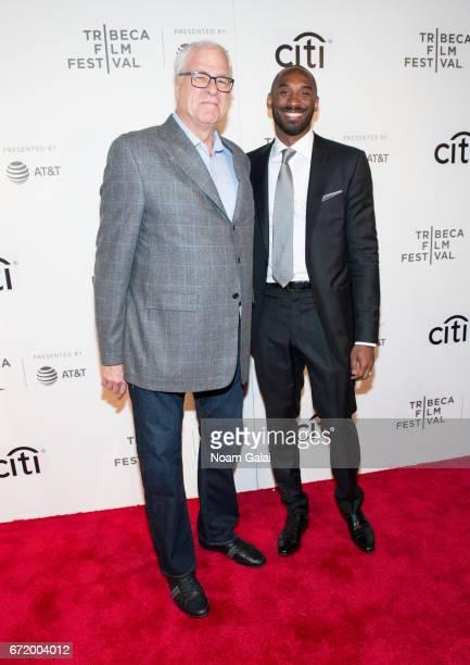 Phil Jackson and Kobe Bryant attend Tribeca Talks Storytellers Kobe Bryant with Glen Keane during 2017 Tribeca Film Festival at BMCC Tribeca PAC on...