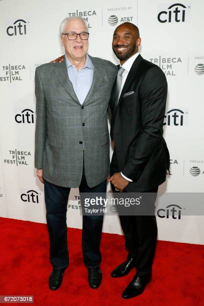 Phil Jackson and Kobe Bryant reunite and attend Tribeca Talks during the 2017 Tribeca Film Festival at Borough of Manhattan Community College on...