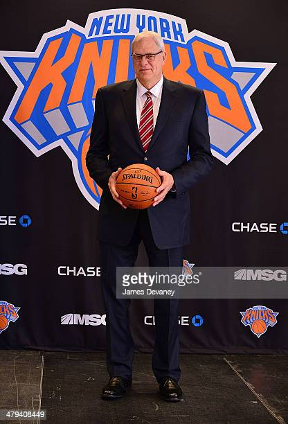 Phil Jackson attends New York Knicks press conference announcing him as team President at Madison Square Garden on March 18 2014 in New York City