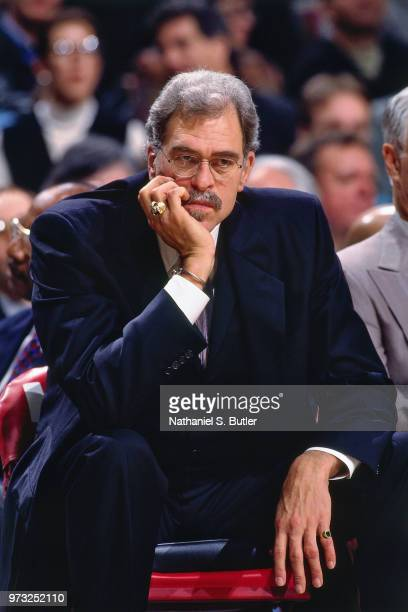Phil Jackson looks on during a game played on November 1 1997 at the First Union Arena in Philadelphia Pennsylvania NOTE TO USER User expressly...