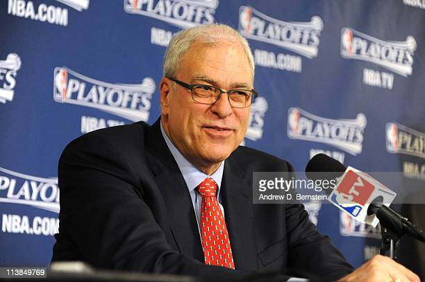 Phil Jackson speaks to the media after his final game as Los Angeles Lakers head coach following Game Four of the Western Conference Semifinals in...