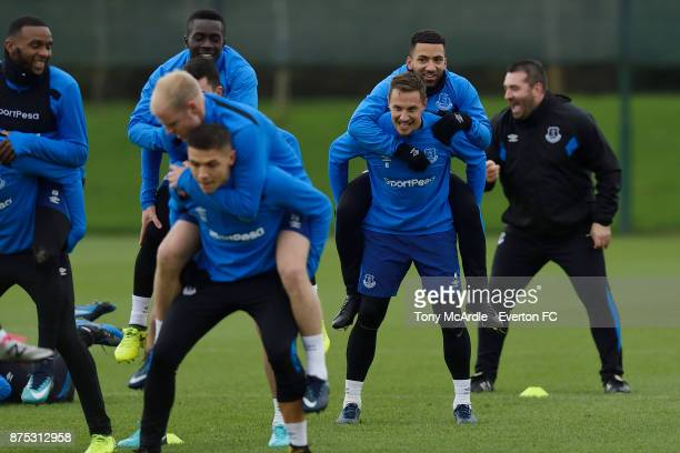 Phil Jagielka and Aaron Lennon during the Everton Training session at USM Finch Farm on November 17 2017 in Halewood England