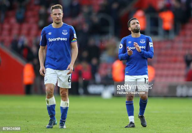 Phil Jagielka and Aaron Lennon of Everton look dejected after the Premier League match between Southampton and Everton at St Mary's Stadium on...