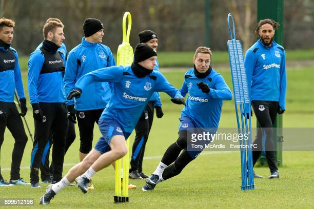 Phil Jagielka and Davy Klaassen during the Everton FC training session at USM Finch Farm on December 29 2017 in Halewood England