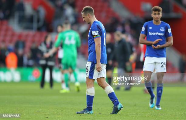 Phil Jagielka and Dominic Calvert-Lewin of Everton look dejected after the Premier League match between Southampton and Everton at St Mary's Stadium...