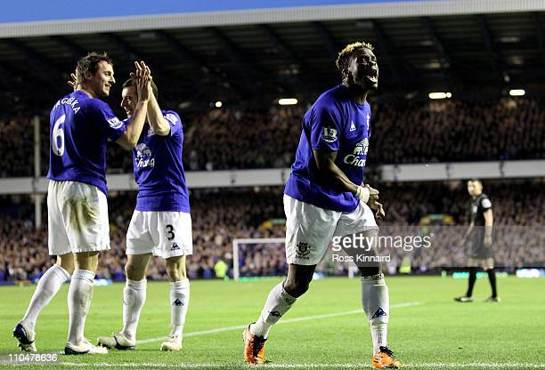 Phil Jagielka and Leighton Baines join Louis Saha of Everton in celebration after he scored his team's 20 goal during the Barclays Premier League...